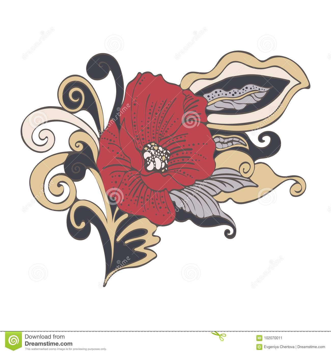 Abstract Flower Cartoon, Vector Hand-drawn. Red Bud Poppy Flower ...