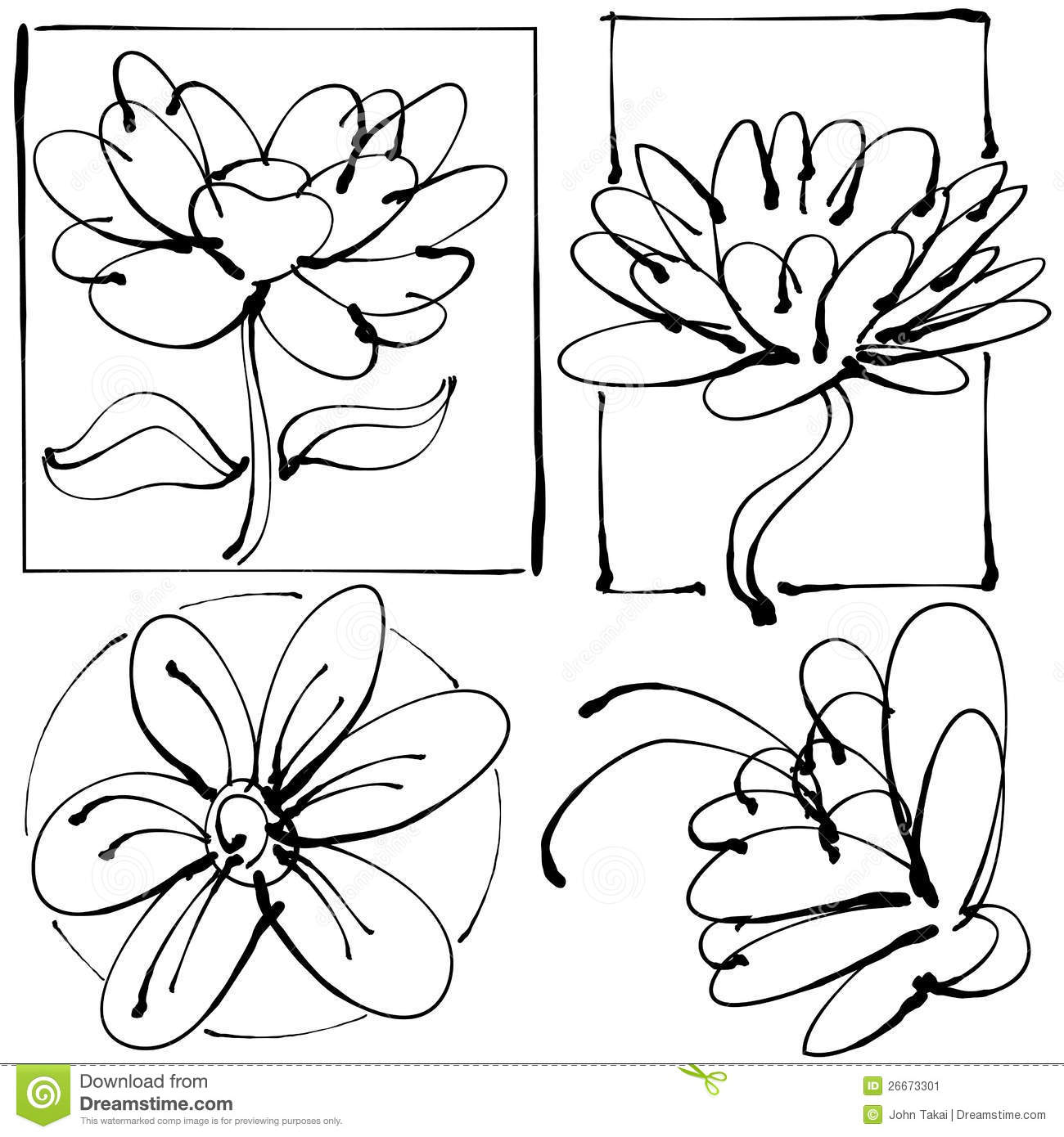 Abstract Line Drawing Flowers : Abstract flower drawing stock image