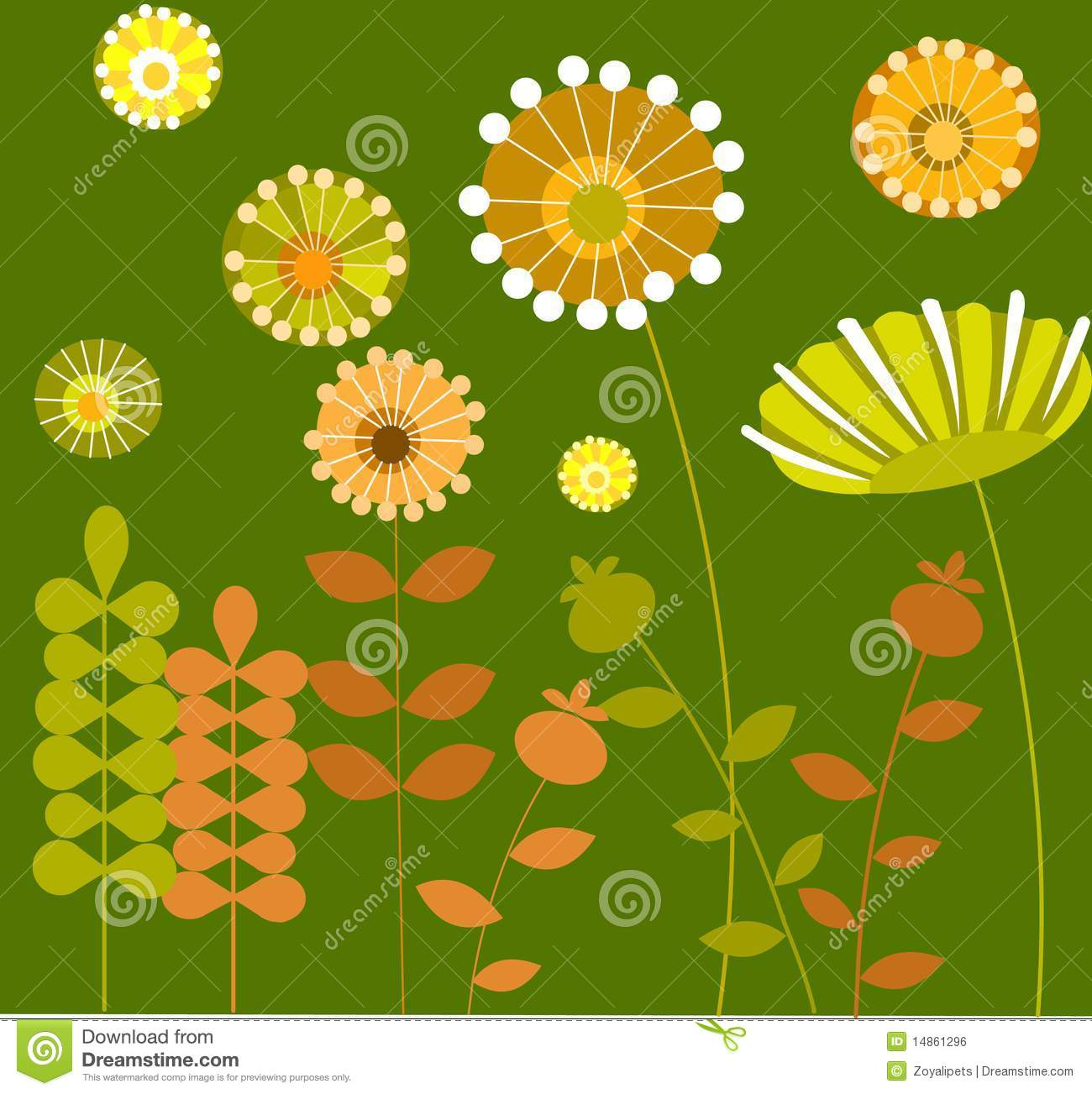 Abstract flower garden with green background-1