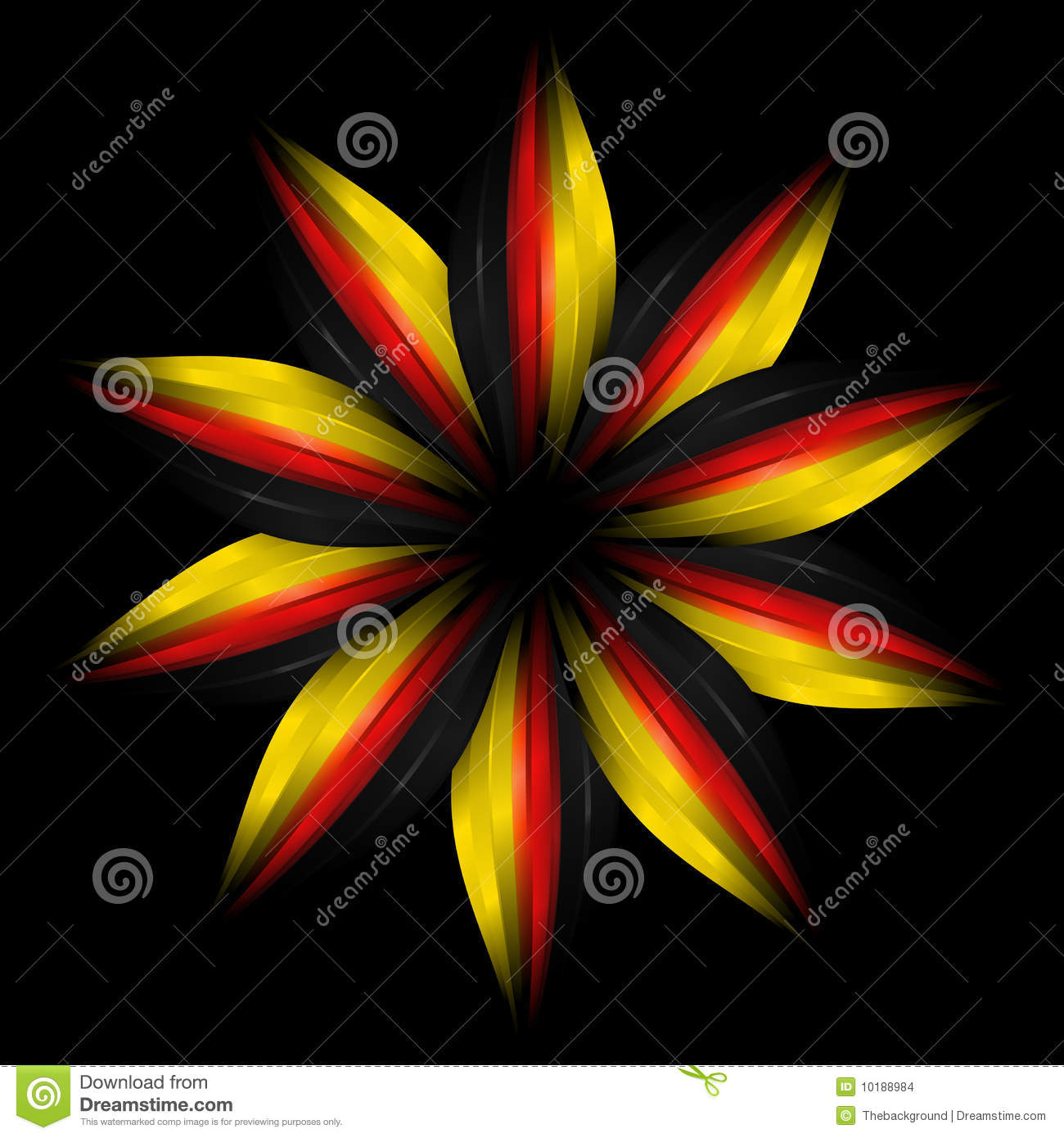 Abstract Flower In German Flag Colours Stock Illustration