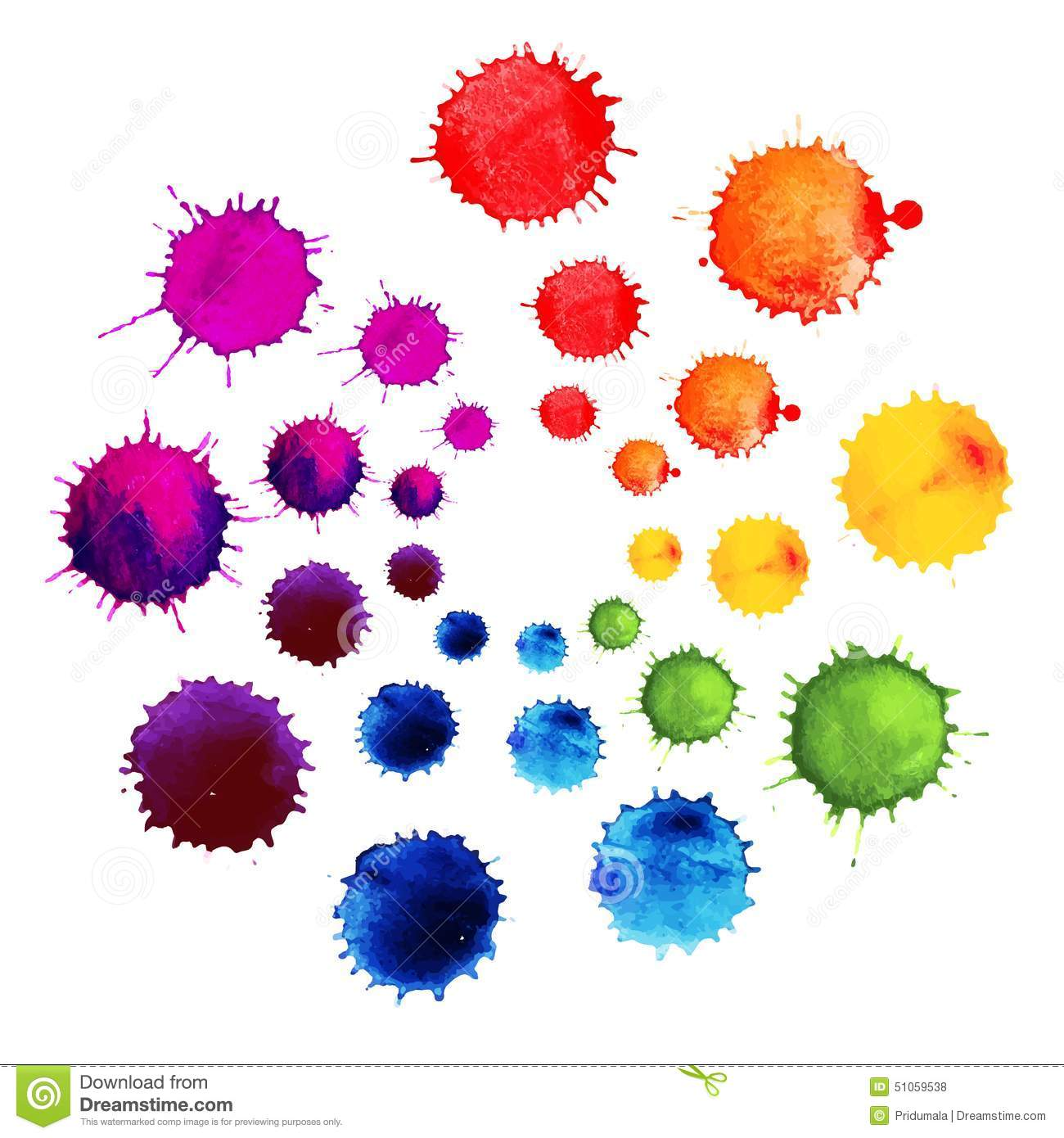 Download Abstract Flower Made Of Watercolor Blobs. Colorful Abstract Vector Ink Paint Splats. Color Wheel. Stock Vector - Illustration of paintbrush, icon: 51059538