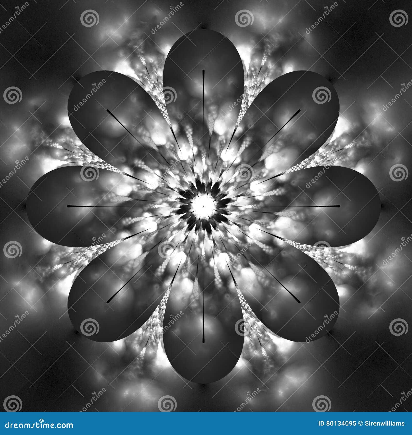 3d7e6de5f Abstract Flower Mandala On Black Background. Stock Illustration ...