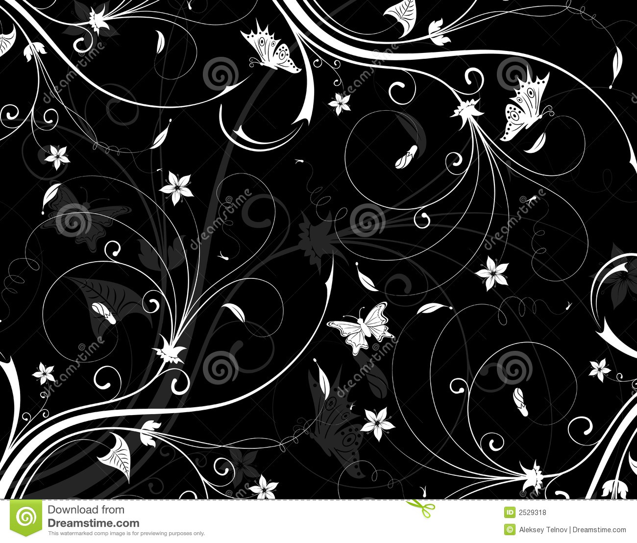 Black Flower And Bud Pattern Royalty Free Stock Photos: Abstract Flower Pattern Royalty Free Stock Photos
