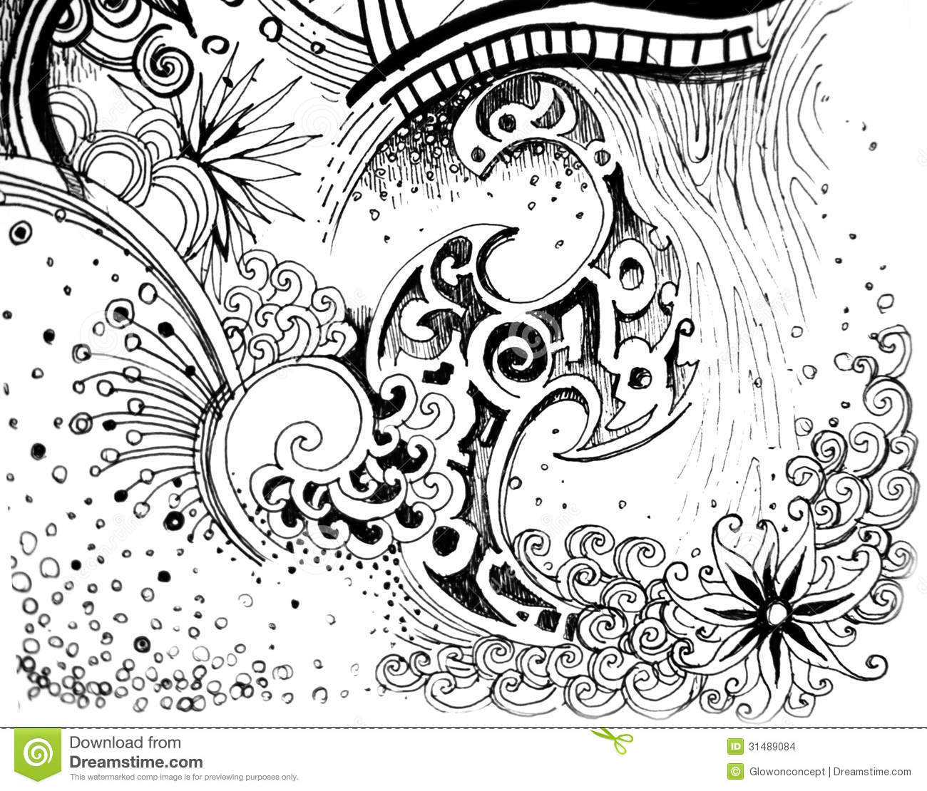 Abstract Line Drawing Flowers : Abstract drawings of flowers black and white images