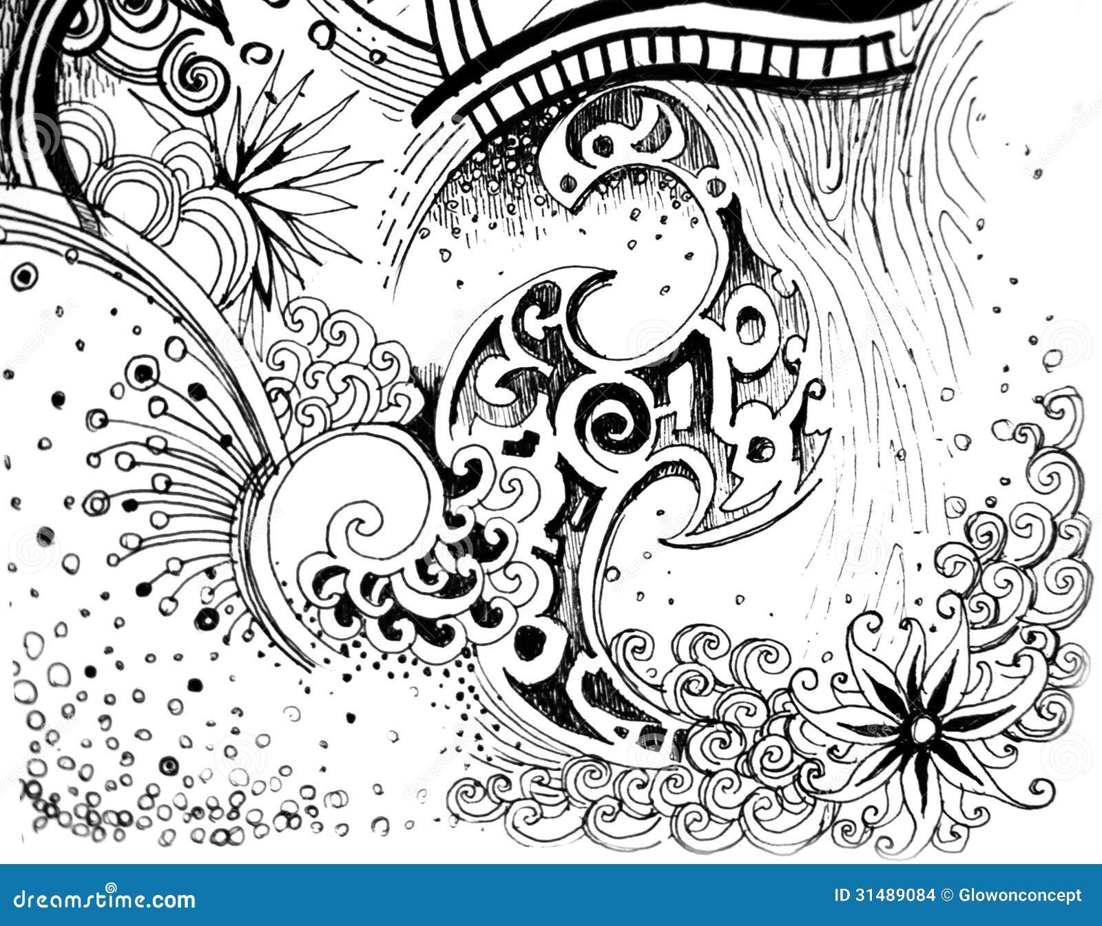 Line Drawing Flower Pattern BigInf