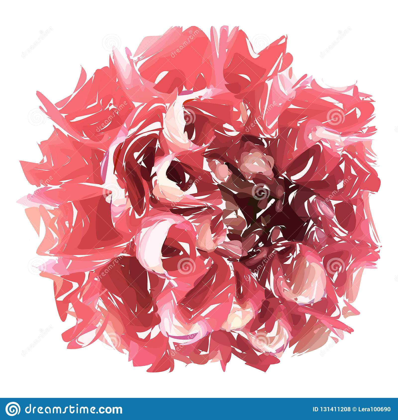 Abstract flower, pink chrysanthemum isolated on white background.