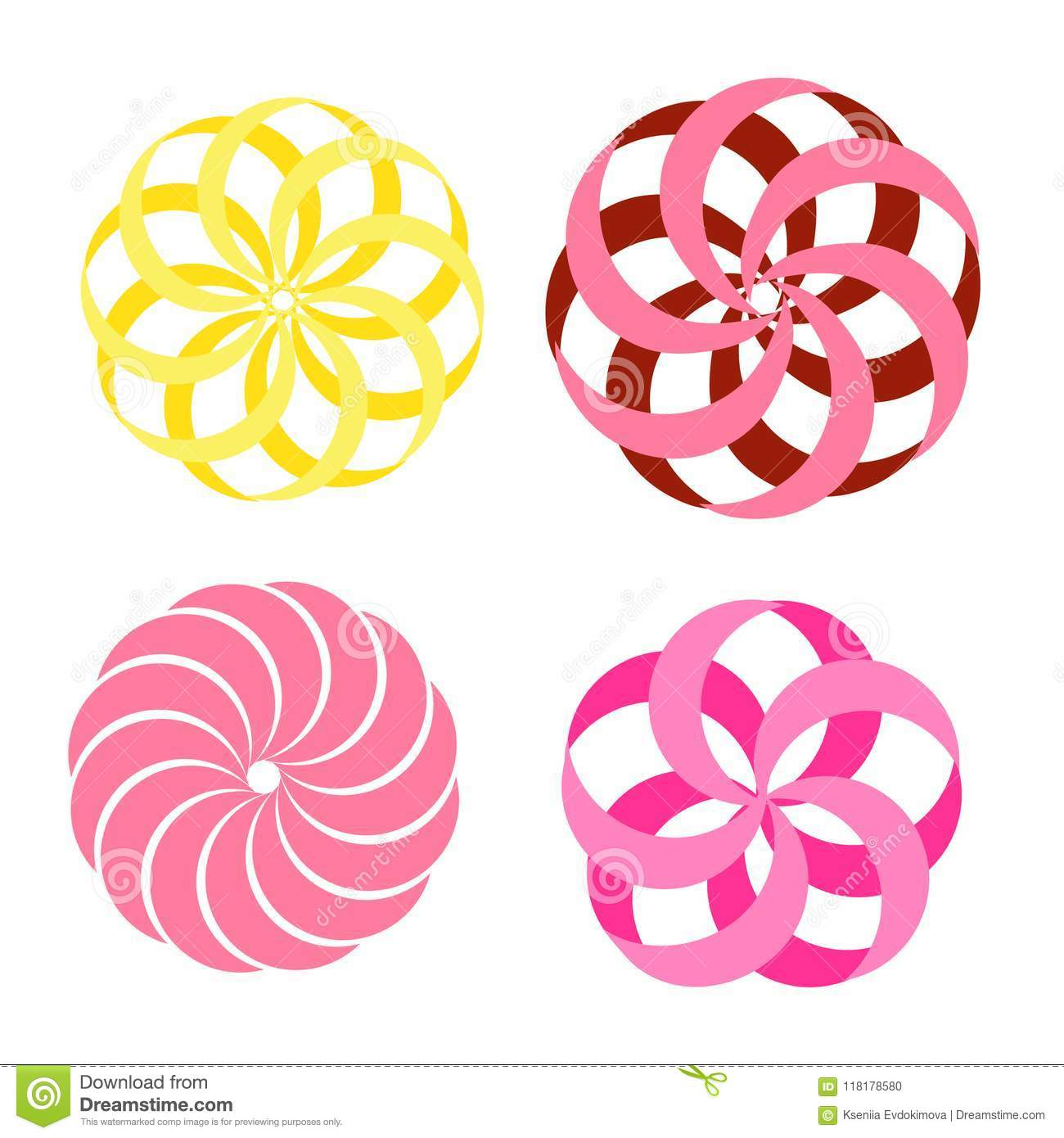 Abstract Flower Shape Elements Paper Craft Floral Style Stock