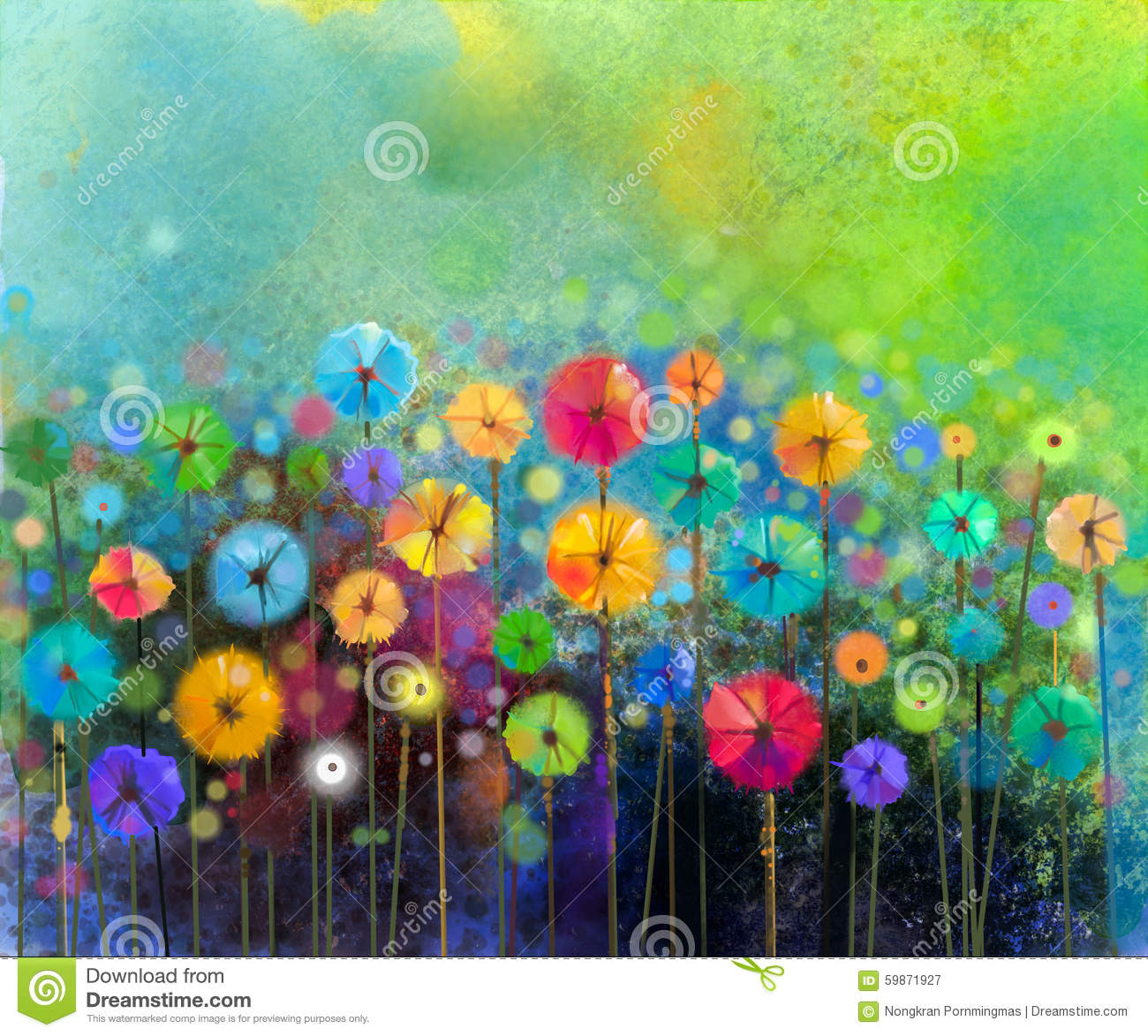 Abstract Flower Watercolor Painting Stock Illustration ...
