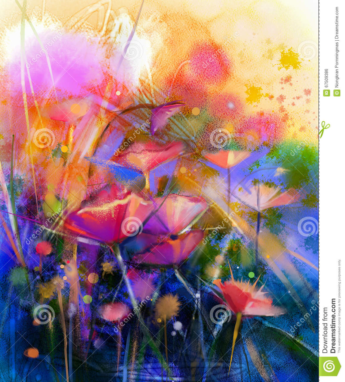 Acrylic Paint For Wall Murals Abstract Flower Watercolor Painting Stock Illustration