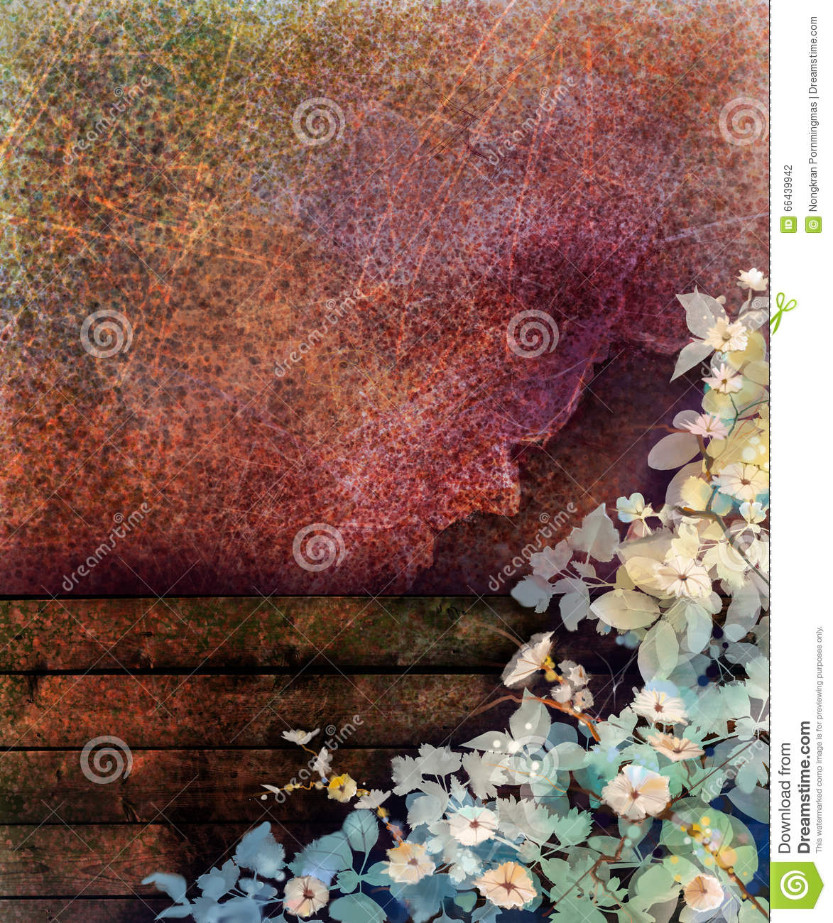 Abstract flower watercolor painting. Hand painted Ivy flowers and leaf on wall and wood fence grunge texture background