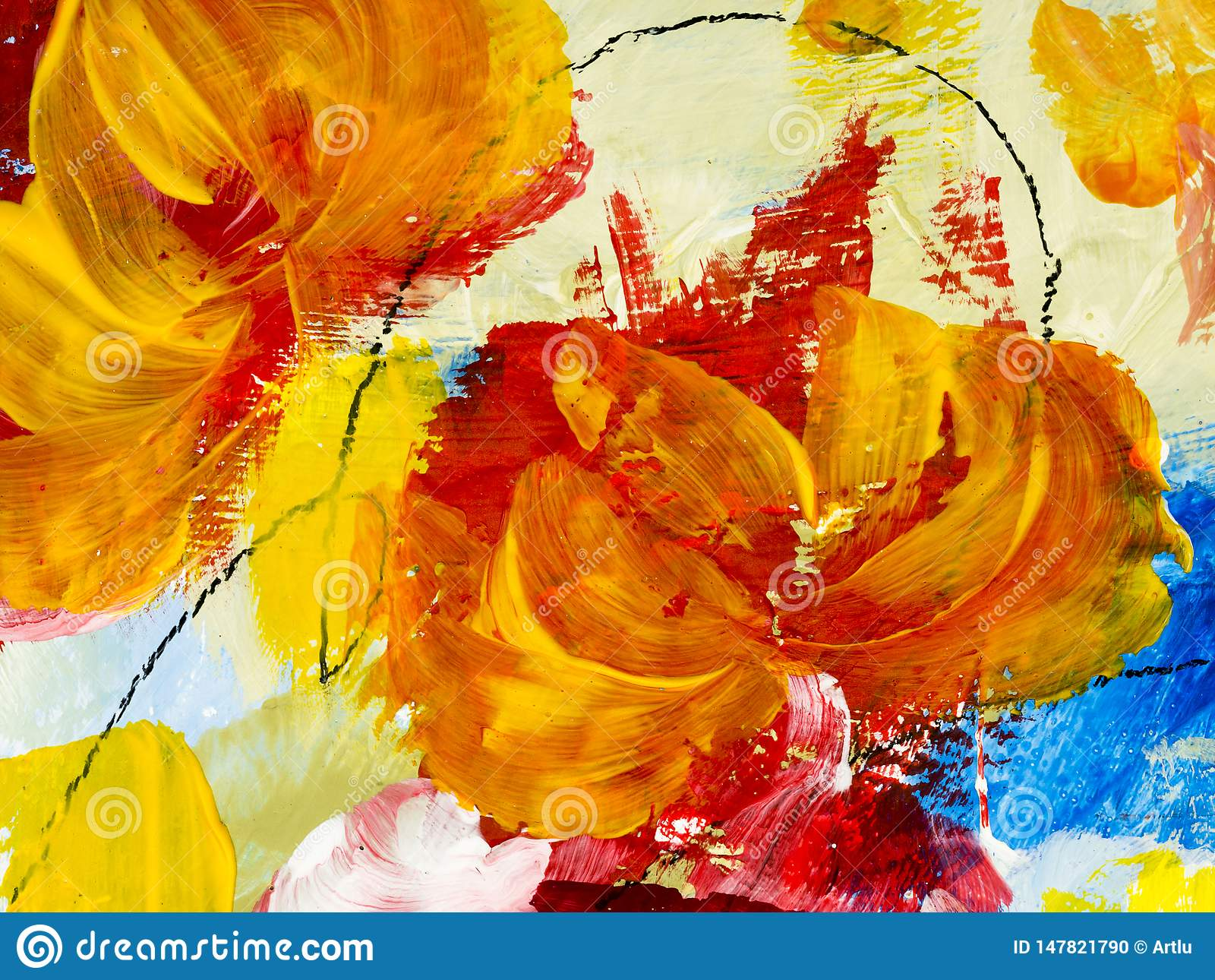 Abstract Flowers Of Acrylic Painting On Canvas Stock