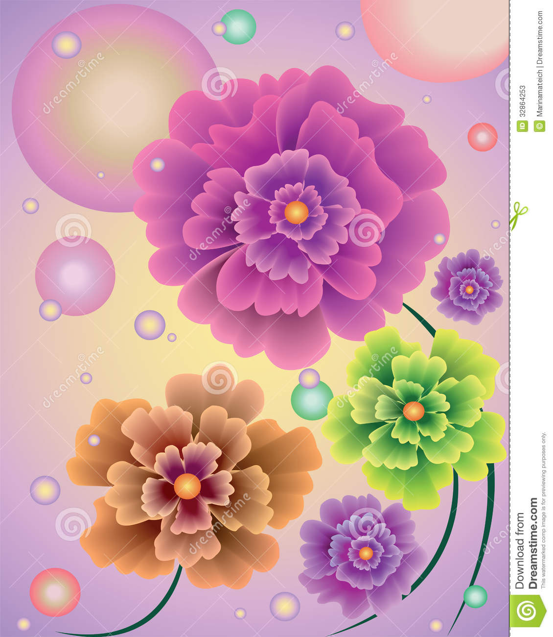 Abstract Flowers With Balloons Stock Vector Illustration