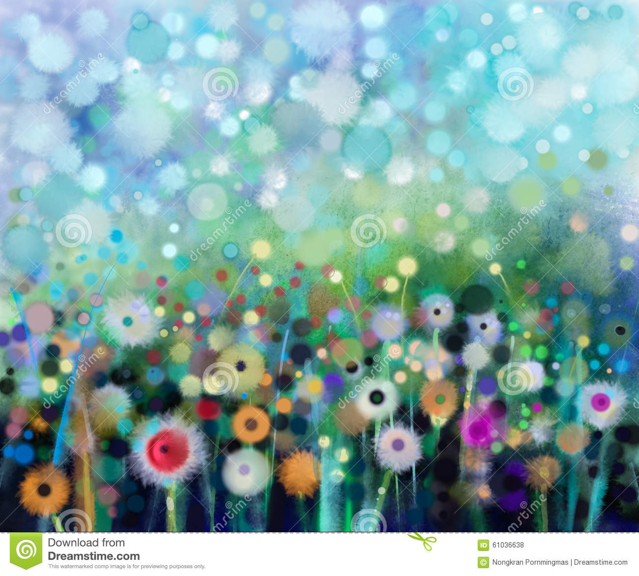Abstract Flowers Dandelion, Watercolor Painting. Stock Illustration ...