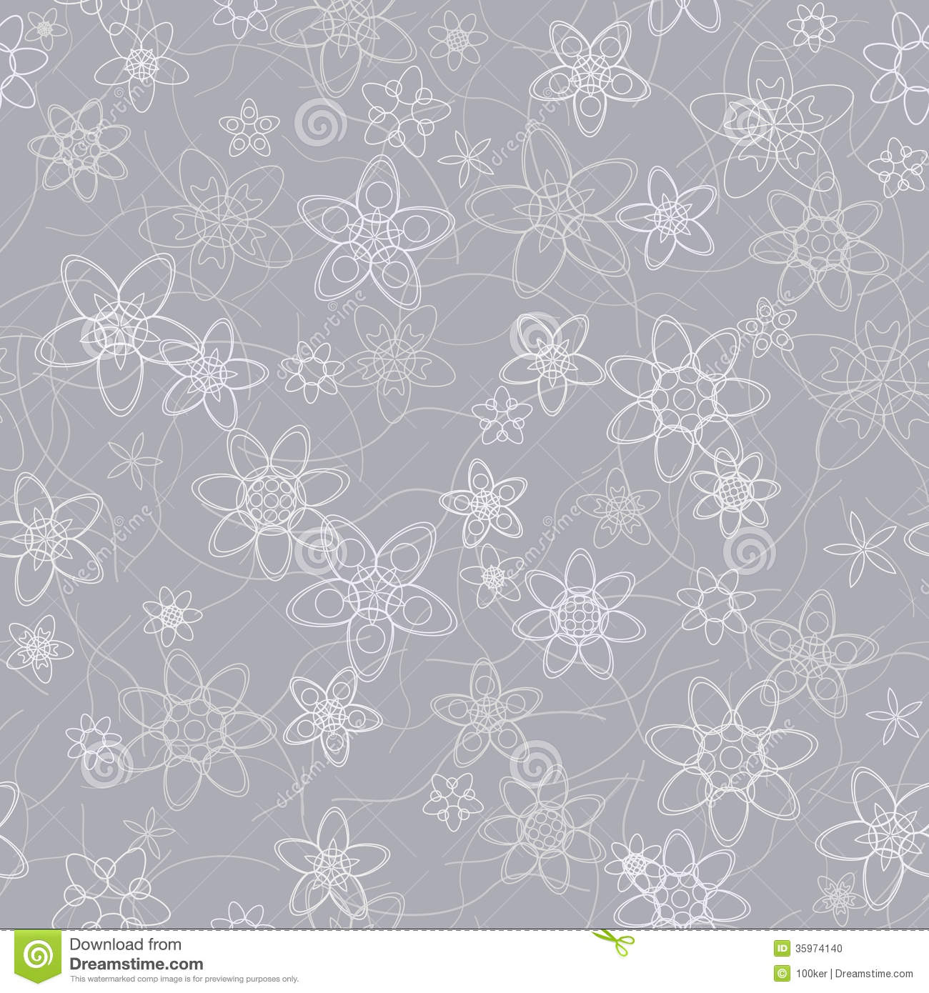 Abstract Flowers Floral Grey Seamless Background Stock Photo