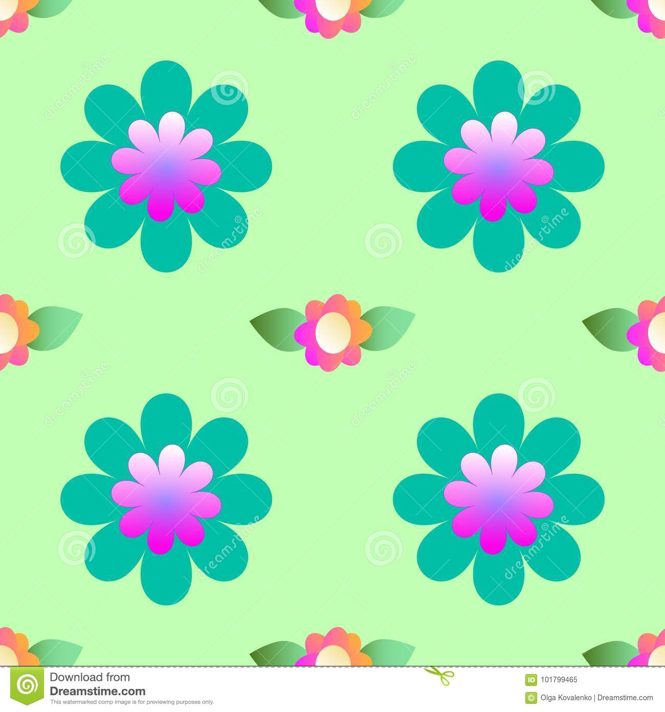 Abstract flowers on a green background, seamless pattern
