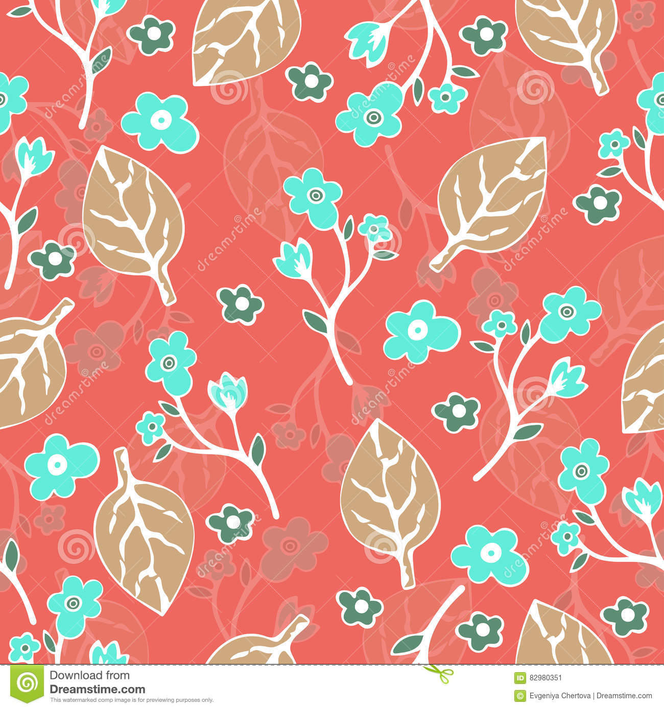 Abstract flowers and leaves seamless pattern vector for Abstract decoration