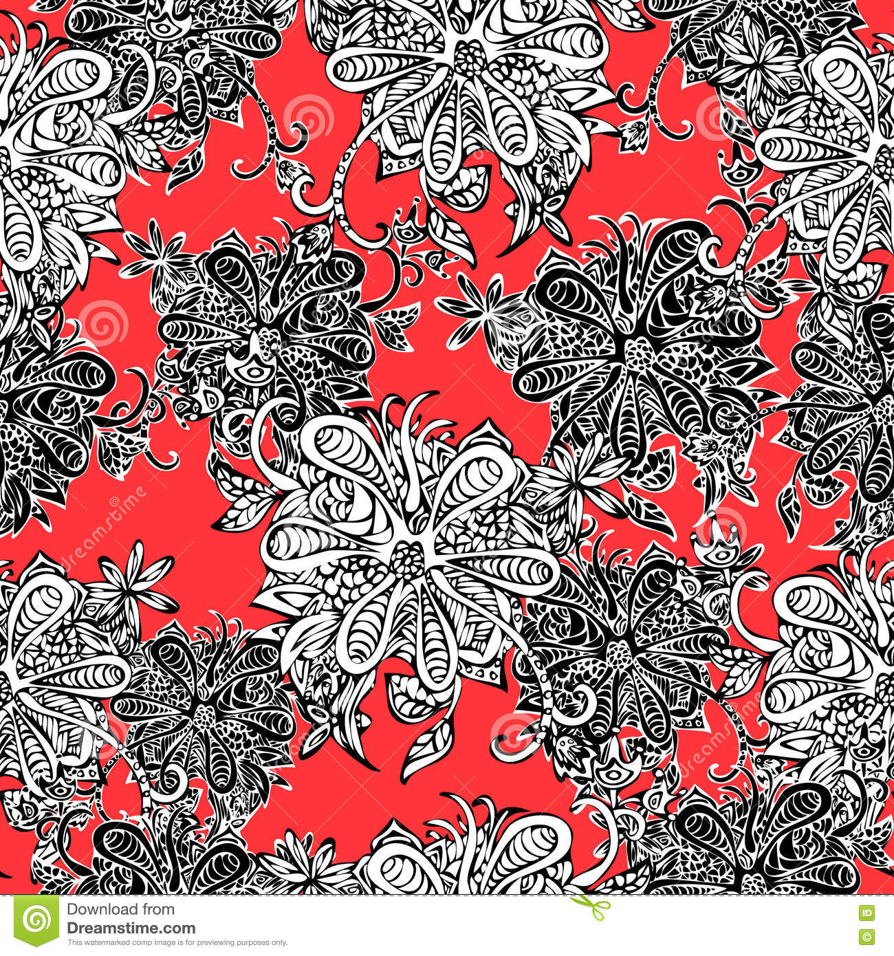Abstract Flowers Seamless Pattern Doodle Sketch Black And White