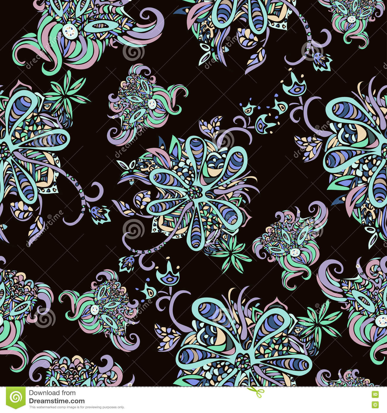 abstract flowers seamless pattern floral background fantasy multicolored on a yellow backdrop. Black Bedroom Furniture Sets. Home Design Ideas