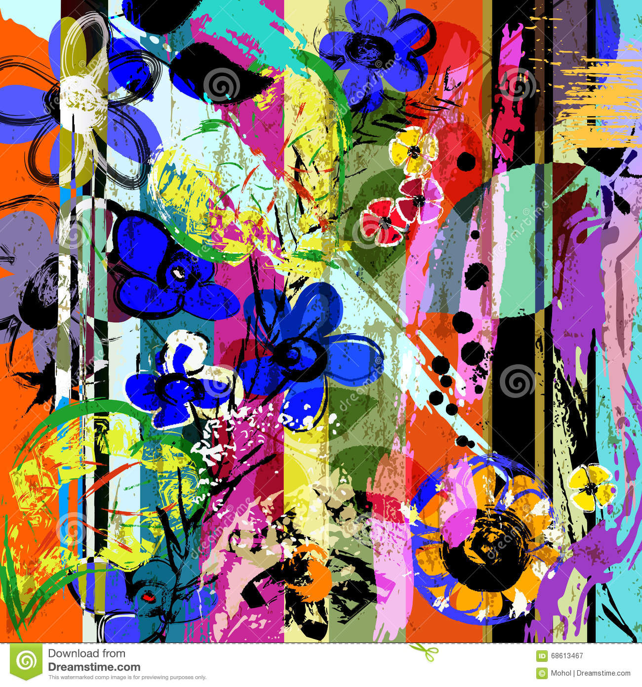 Abstract flowers, strokes, splashes
