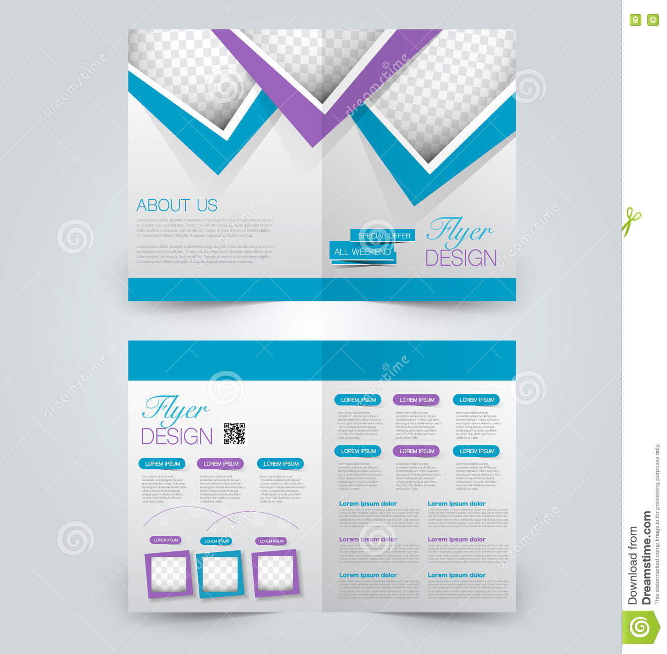 Abstract Flyer Design Background Bi Fold Brochure Template Stock