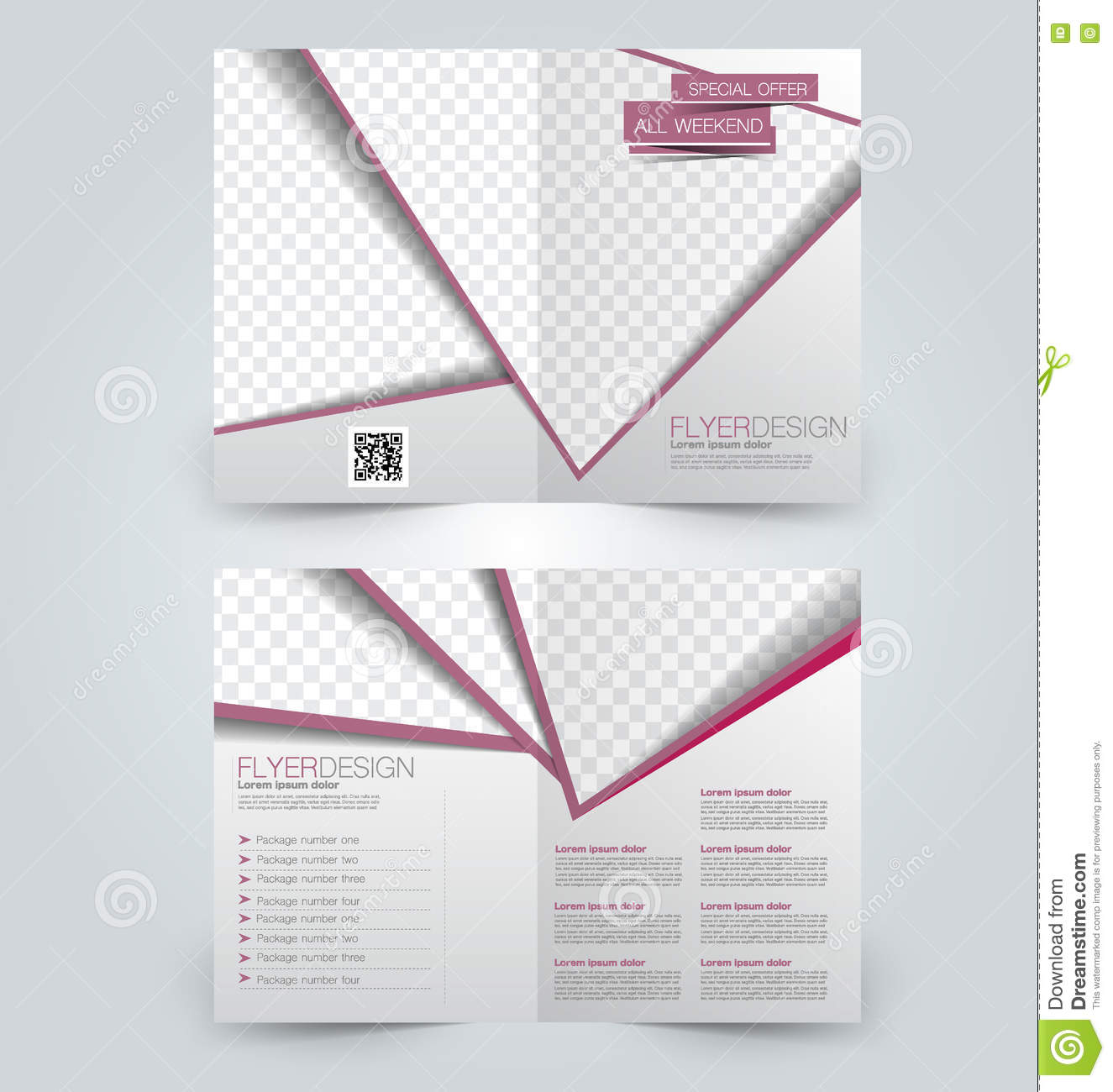 Abstract Flyer Design Background Bifold Brochure Template Stock - Two fold brochure template