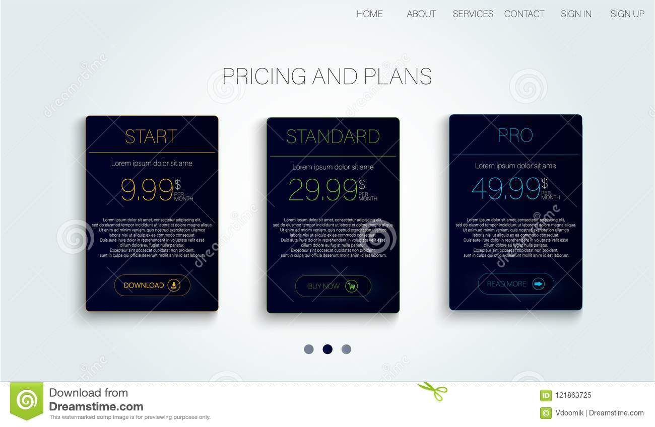 abstract flyer design with tariffs page. price, table, chart