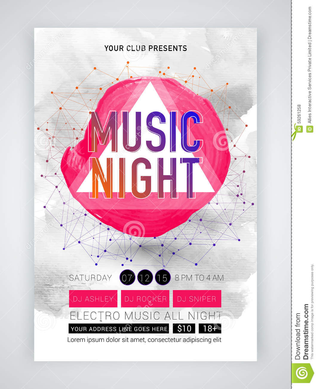 Abstract Flyer, Template Or Banner For Music. Stock Illustration ...