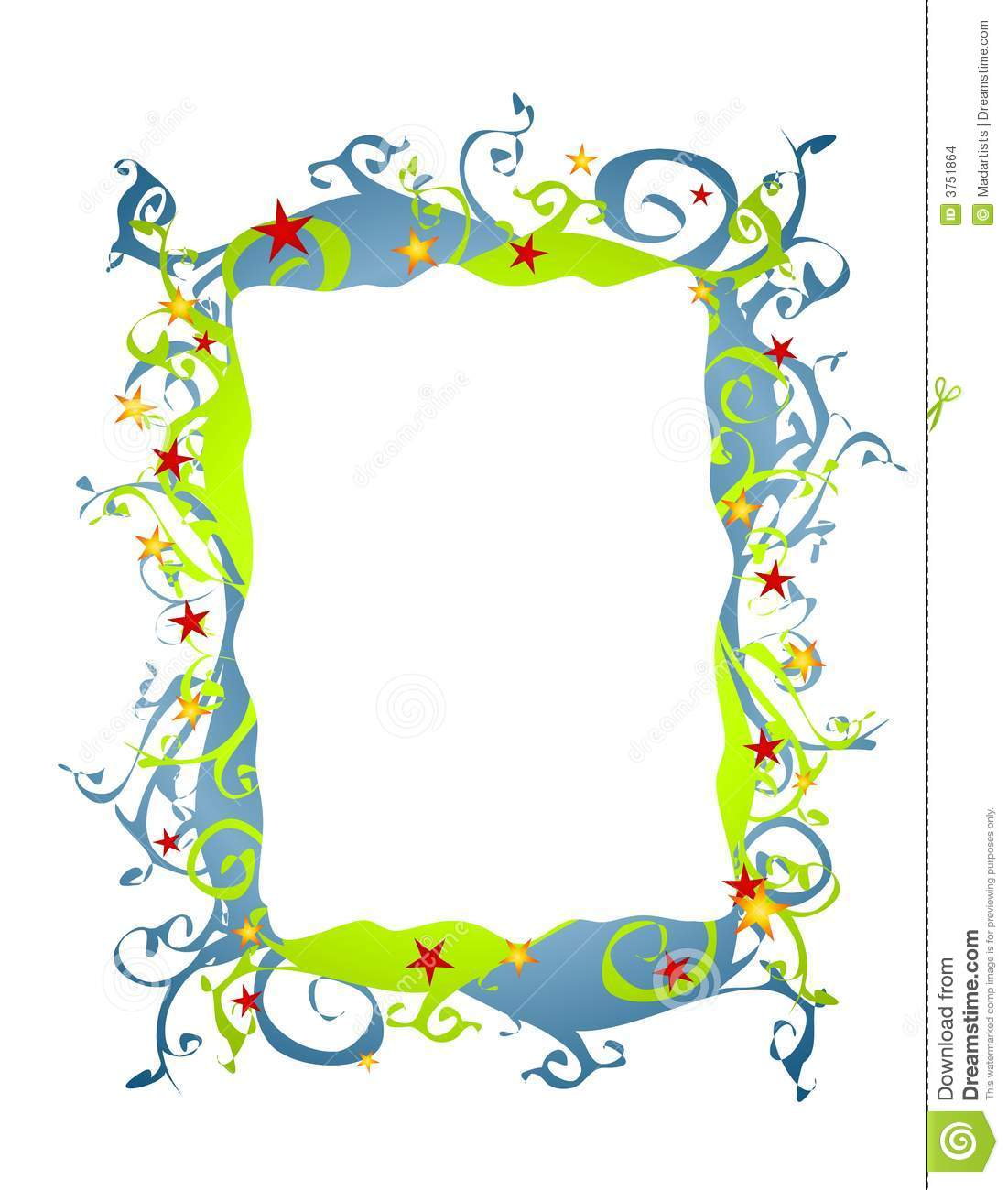 clip art illustration featuring a decorative folksy abstract border ...