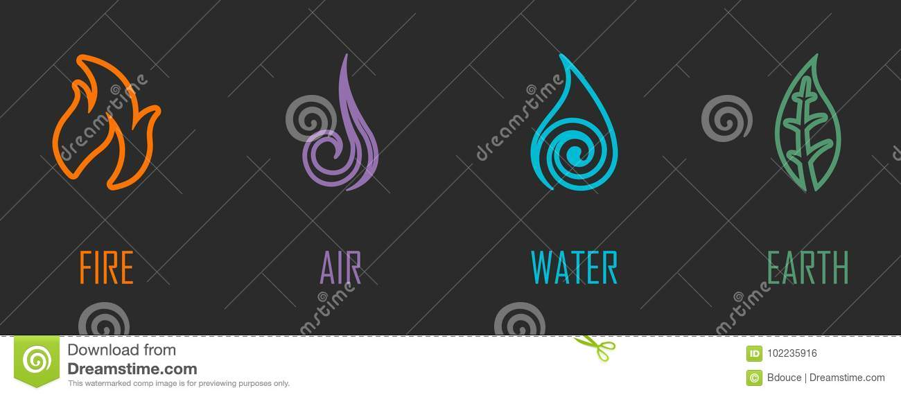 Abstract Four Elements Fire Air Water Earth Line Symbols Stock