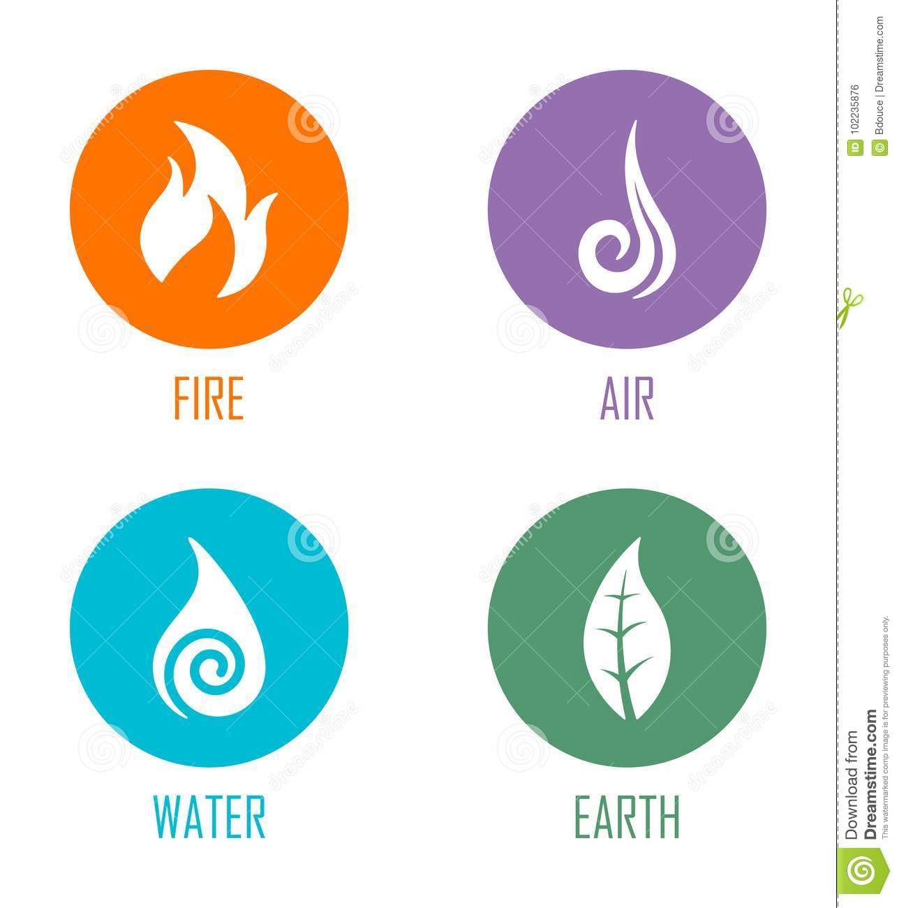 Abstract Four Elements Fire Air Water Earth Symbols Placed On