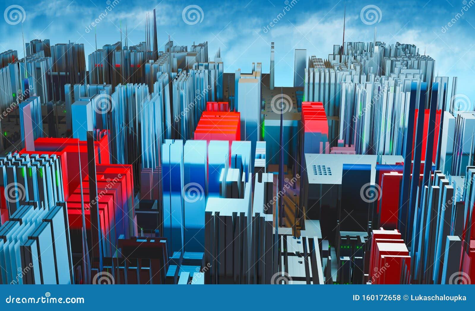 Abstract fractal kleurrijke rode en blauwe stad met blauwe lucht en wolk Moderne stad in de toekomst, 3D rendering