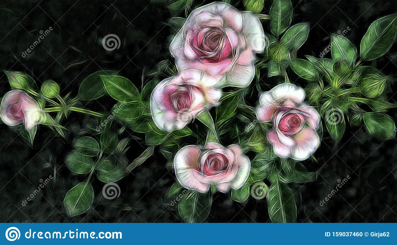 Abstract Fractal Pink Rose Floral Background With Stock Photo