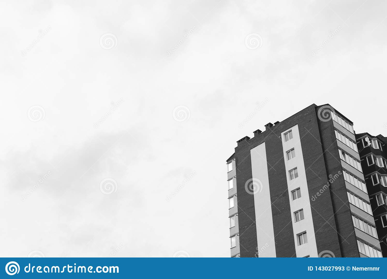 Abstract fragment of contemporary architecture. Residential modern building, dramatic black and white, copy space