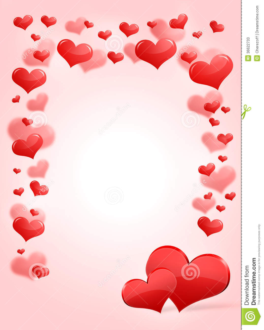 Abstract frame with red hearts. The concept of Valentine's Day.