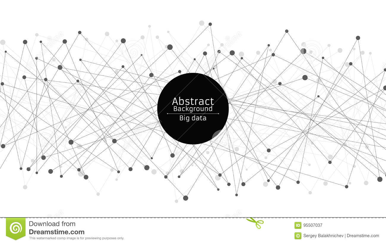 Abstract futuristic background. Connection of lines and dots in black. White background. Black web. Hi-tech and sci-fi