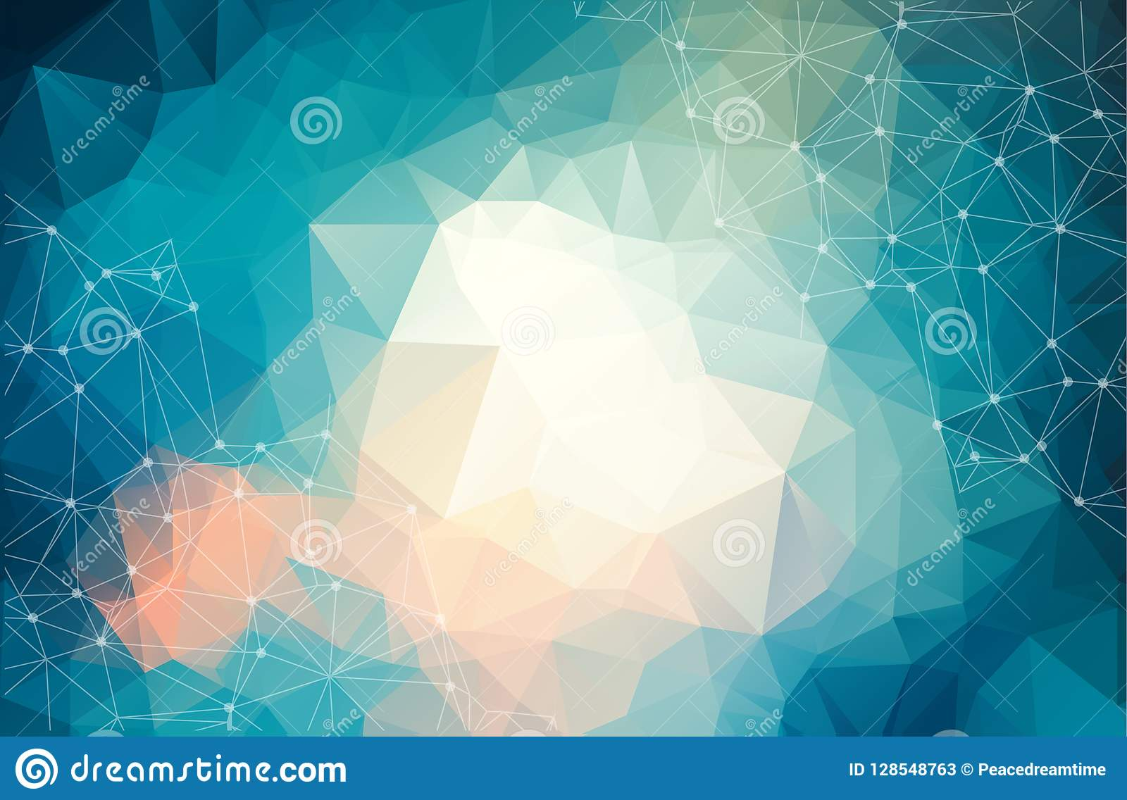 Abstract futuristic background with dots and lines, molecular particles and atoms, polygonal linear digital texture, technological