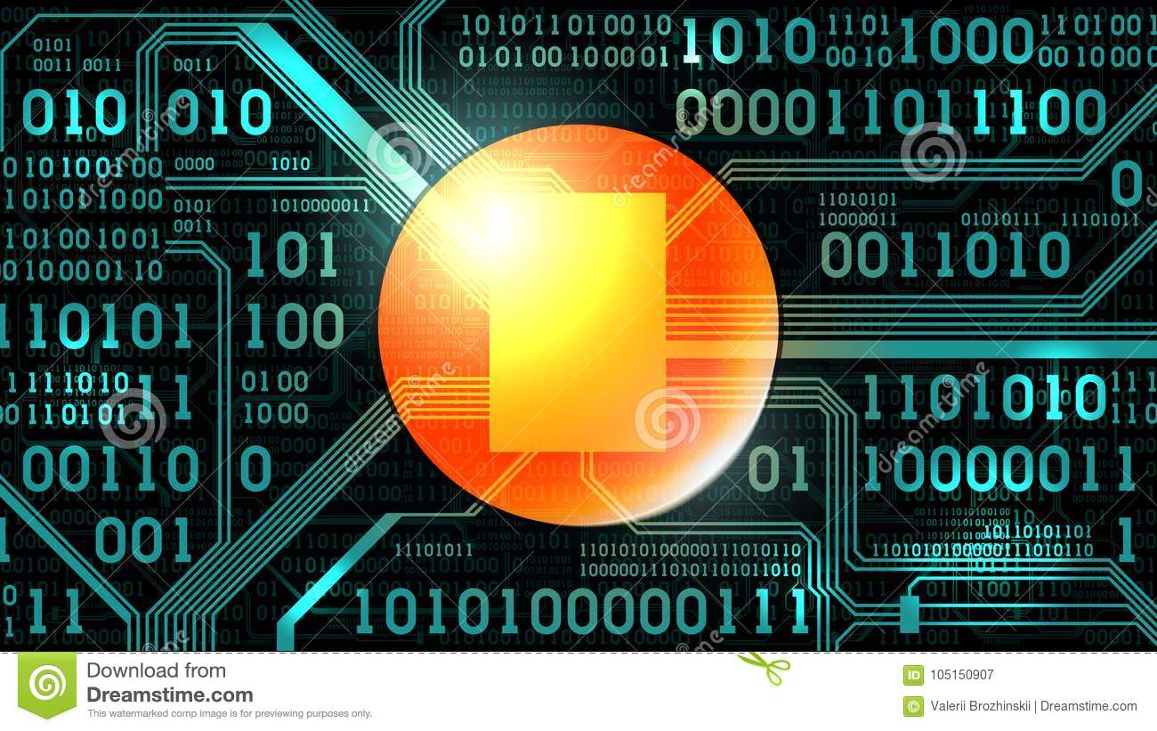 Abstract Futuristic Background With Electronic Circuit Board Binary Abstact And Code Stock Images Round Place