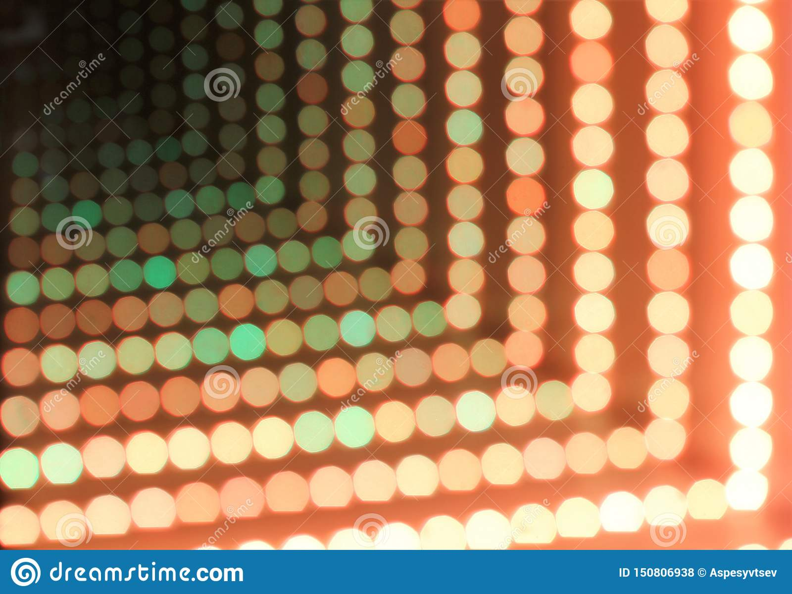 Abstract background of glowing dotted neon lights, perspective view