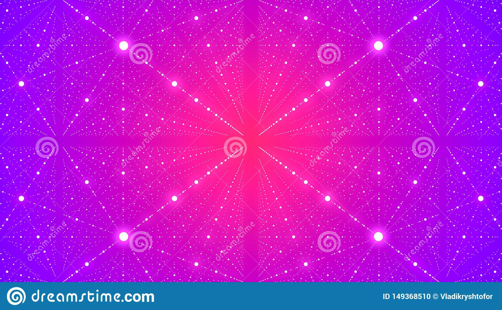 Abstract futuristic background with illusion of infinity with many dots. 3D rendering