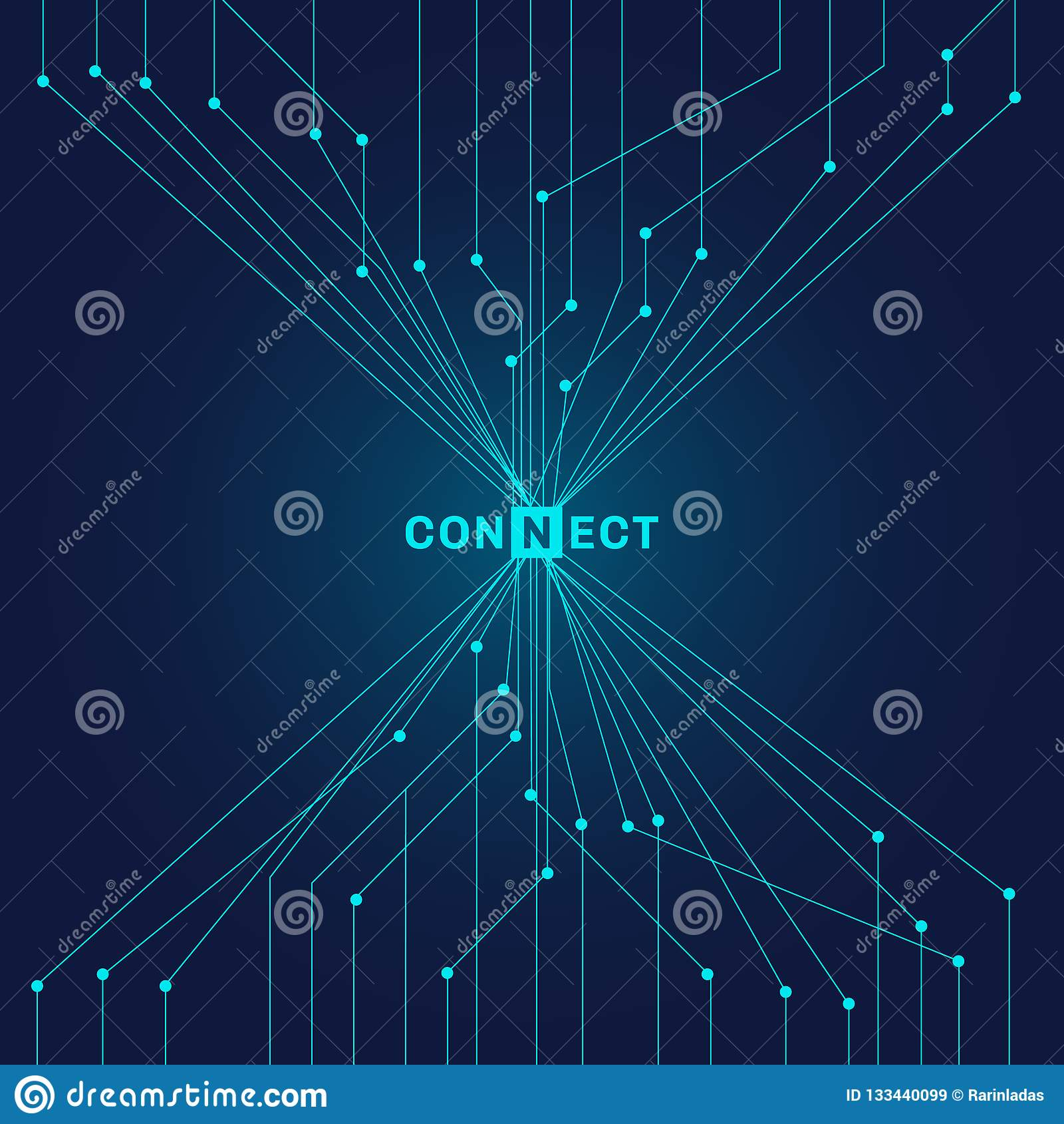 Abstract futuristic blue circuit board on dark background digital technology connecting concept