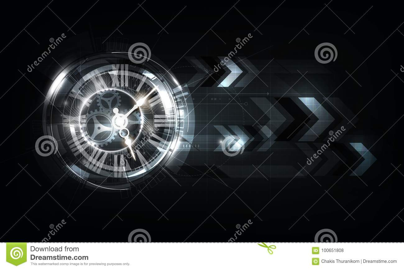 Abstract Futuristic Technology Background With Clock ...