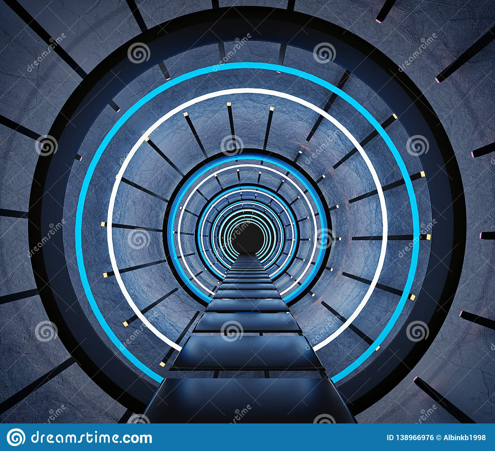 Abstract Futuristic Tunnel 3d Rendering Stock Illustration