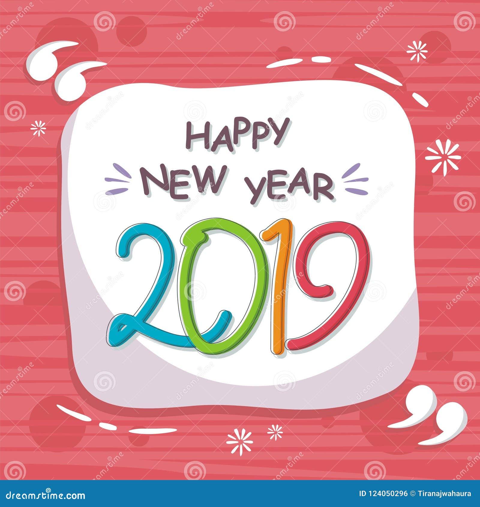 Abstract gelukkig nieuw jaar 2019 met in ontwerp