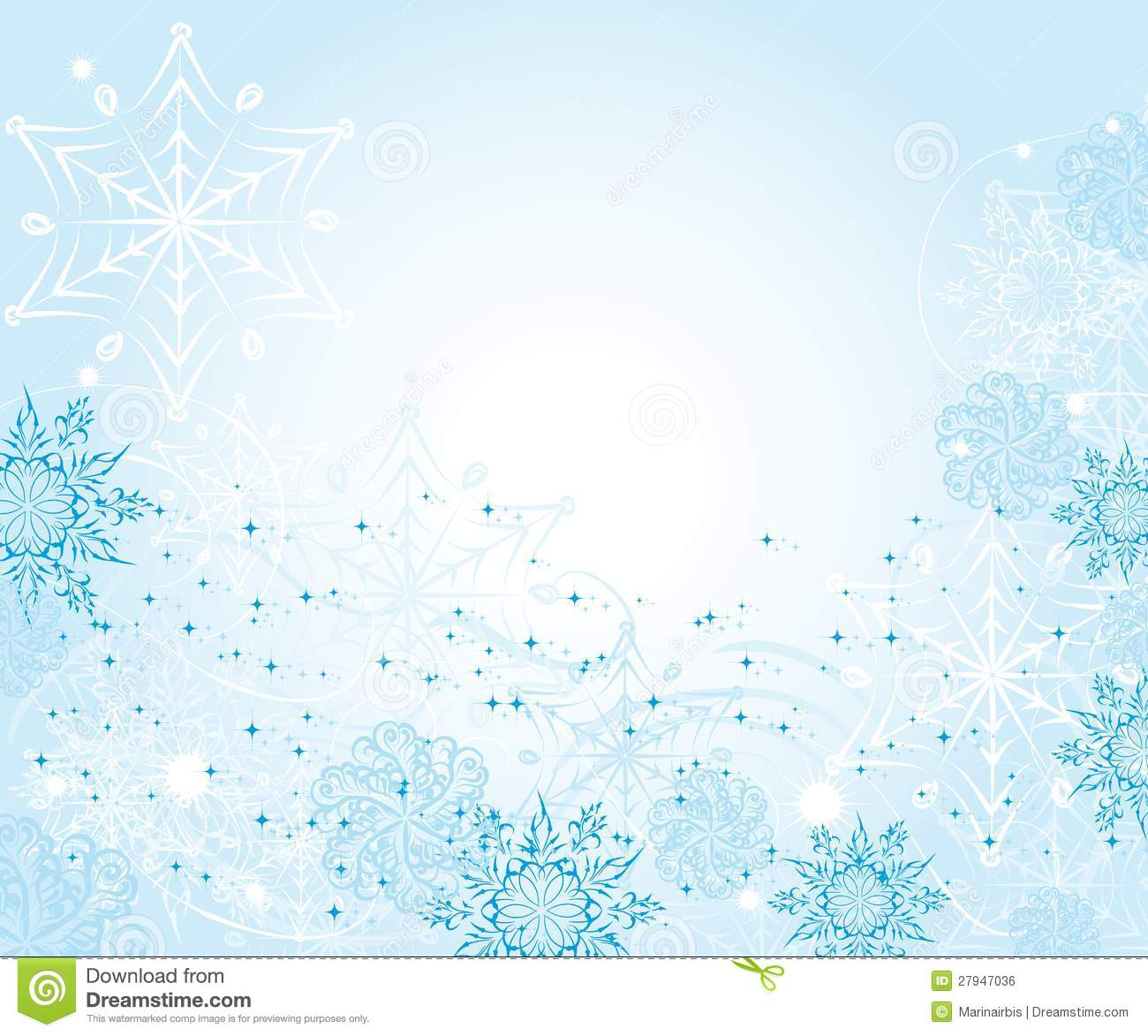 Abstract Gentle Winter Frame With Snowflakes Illustration 27947036 ...