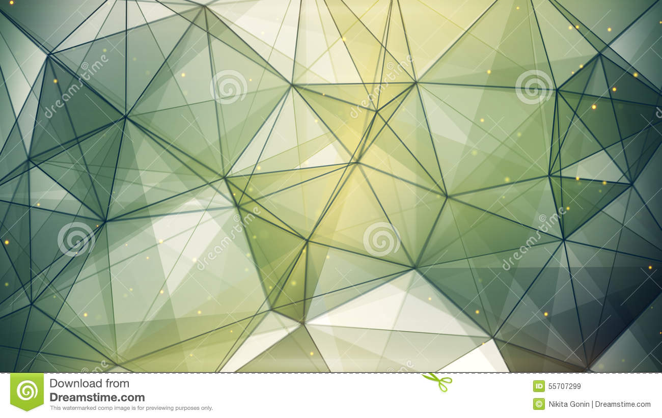 Abstract geometric background dark green triangles and lines