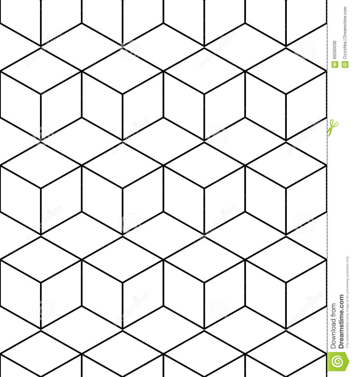 Abstract Geometric Background With Isometric Cubes Stock ...