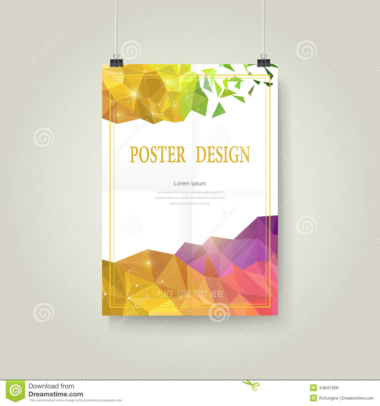 Abstract colorful geometric background poster template design.