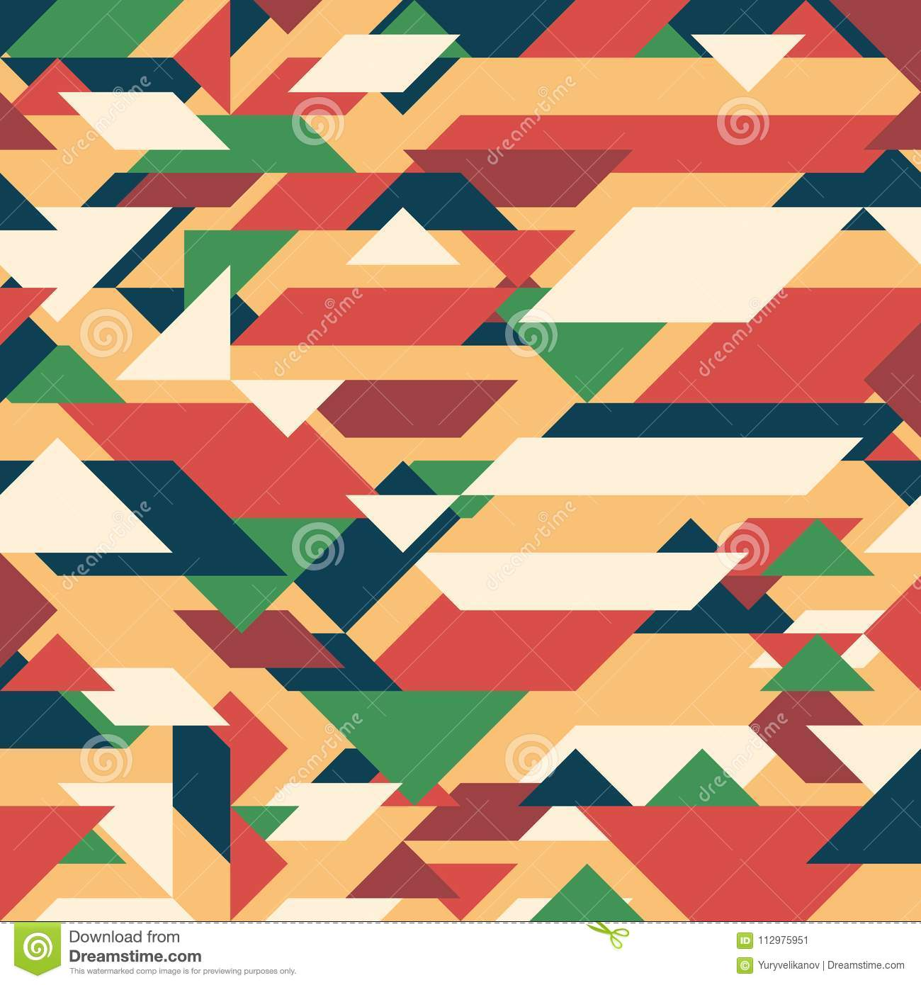 Abstract geometric background. Retro overlapping rectangles and triangles.