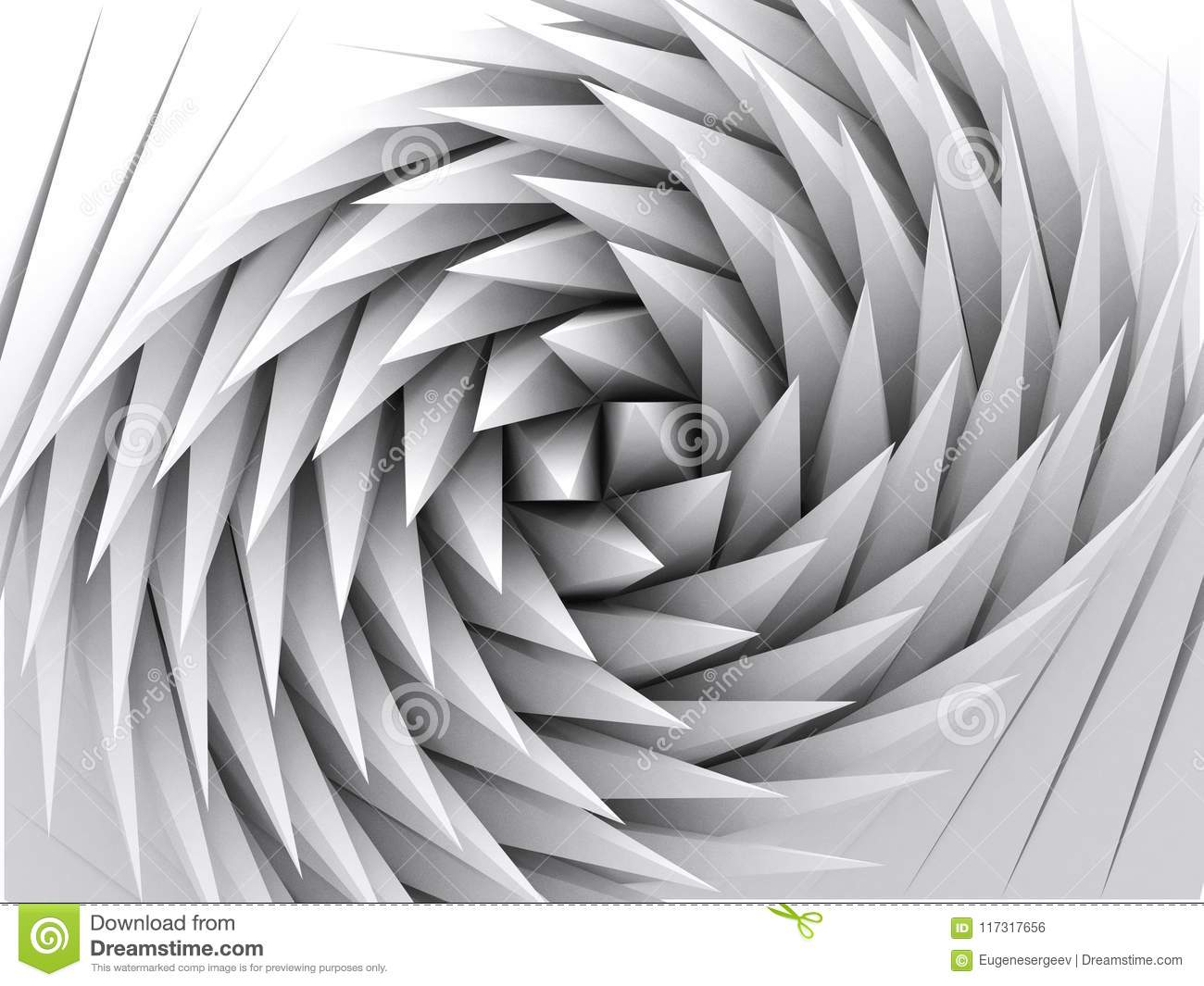 Abstract geometric background, white 3d art