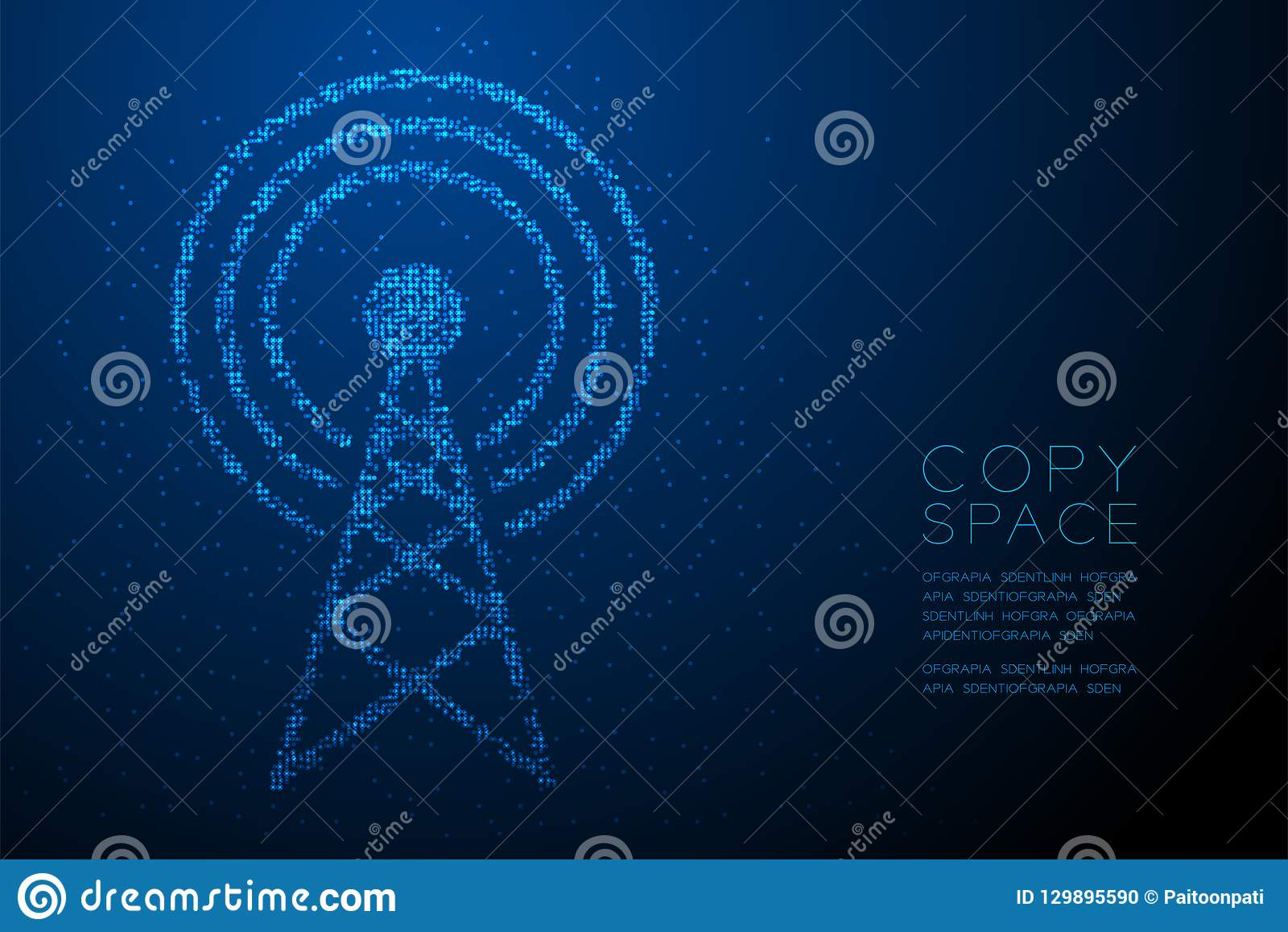 Abstract Geometric Bokeh Circle Dot Pixel Pattern Antenna